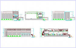 Elevation and different axis section view of  laboratory dwg file