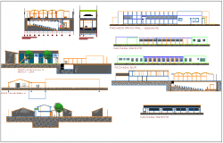 Elevation and different axis section view of collage building dwg file