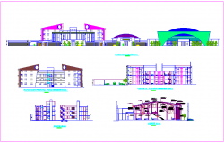 Elevation and different axis section view of commercial complex view dwg file