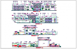 Elevation and different axis section view of corporate building dwg file