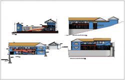 Elevation and different axis section view of education center dwg file