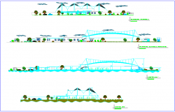 Elevation and different axis section view of fruit preserve plant dwg file