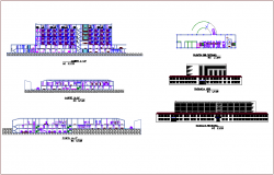 Elevation and different axis section view of hospital dwg file
