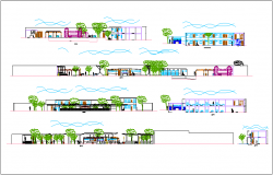 Elevation and different axis section view of hotel building dwg file
