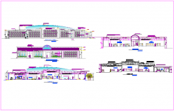 Elevation and different axis section view of museum with historical view dwg file