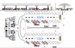 Elevation and ground floor details of bus terminal design dwg file