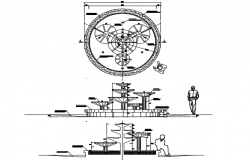 Elevation and plan  Fountain detail dwg file