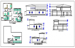 Elevation and plan design drawing of Dormitory design drawing