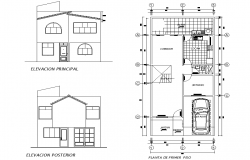 Elevation and plan hose plan layout file