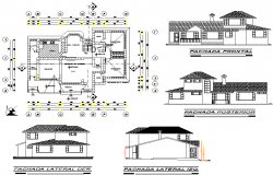 Elevation and plan housing plan detail dwg file
