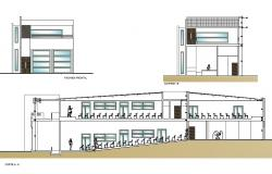Elevation and section Architect plants of auditorium detail dwg file