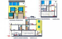 Elevation and section Family house plan detail dwg file