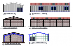 Elevation and section Industrial warehouse metal structure 200m2 detail
