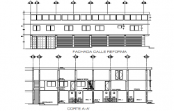 Elevation and section Store house project plan detail dwg file