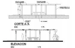 Elevation and section architectural home plan detail dwg file