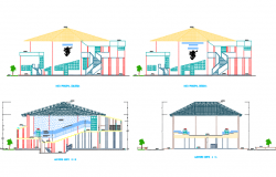 Elevation and section auditorium detail dwg file