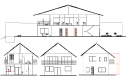 Elevation and section beach house plan layout file