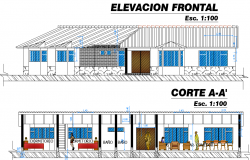 Elevation and section cabin detail dwg file