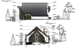 Elevation and section chapel plan detail dwg file