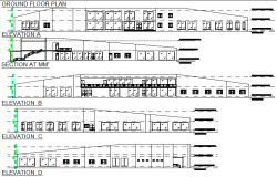 Elevation and section club complete detail dwg file