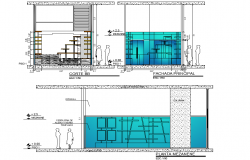 Elevation and section commercial plan autocad file