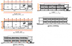 Elevation and section design drawing of Classroom design