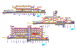 Elevation and section design drawing of Hospital design drawing