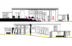 Elevation and section details of Art gallery with theaters and restaurant dwg file