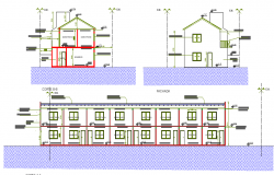 Elevation and section details of eight units group habitation dwg file