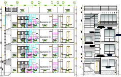 Elevation and section details of multi-flooring housing building dwg file