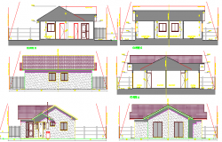 Elevation and section details single housing project dwg file