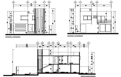 Elevation and section executive project house 2 levels autocad file