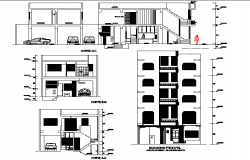 Elevation and section family house autocad file