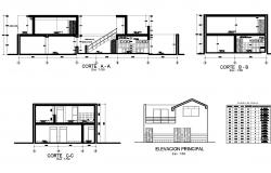 Elevation and section family house dwg file