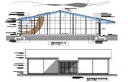 Elevation and section hangar for mate her bcanchada detail dwg file