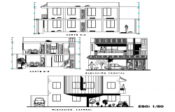 Elevation and section home autocad file