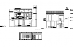 Elevation and section home plan detail dwg file