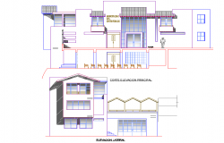 Elevation and section house detail dwg file
