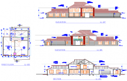 Elevation and section house plan autocad file