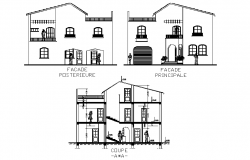 Elevation and section house plan layout file