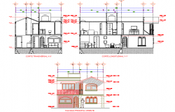 Elevation and section house room facilities plan autocad file