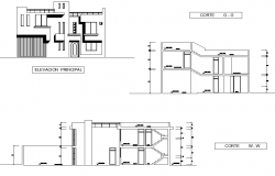 Elevation and section housing plan autocad file