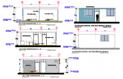 Elevation and section housing workshop autocad file