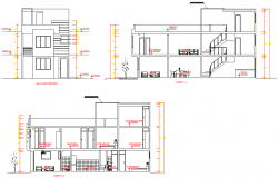 Elevation and section living place layout file
