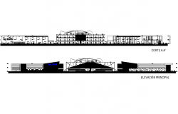 Elevation and section mall light detail dwg file
