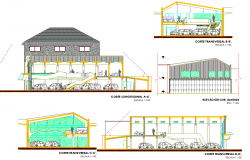Elevation and section mega centre commercial autocad file
