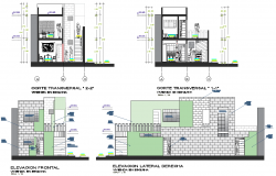 Elevation and section modular housing plan detail dwg file