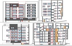 Elevation and section plan of multi-family residential building dwg file