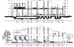 Elevation and section plant for paper detail dwg file