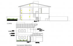 Elevation and section project of housing for one family layout file